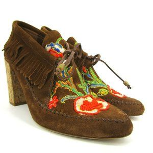 Tory Burch Suede Embroidered Bead Huntington 7
